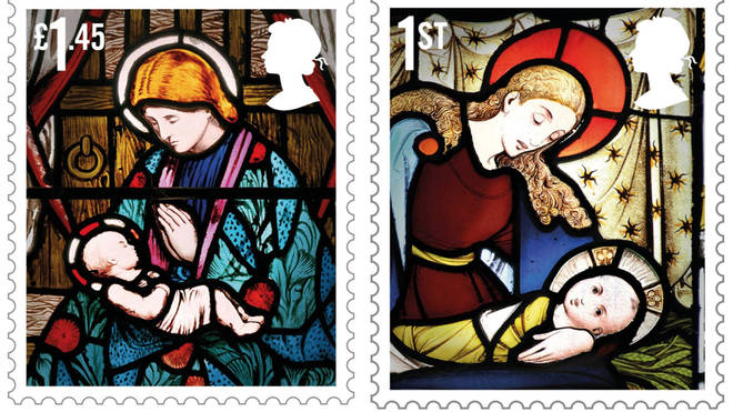 The stained-glass images come from churches across the UK