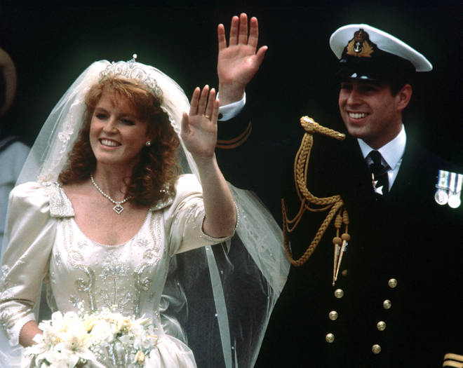Sarah Ferguson and Prince Andrew on their wedding day in 1986