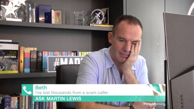 Martin Lewis looked gutted for Beth, who had £8,000 stolen from her