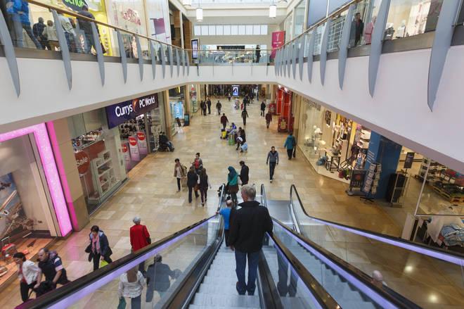 The interior of a shopping centre