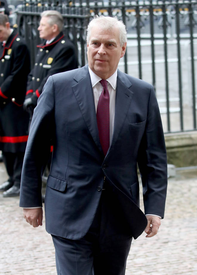 Prince Andrew arrives for a royal ceremony
