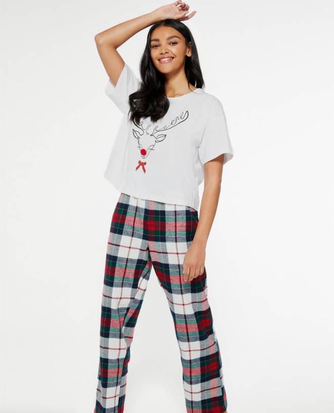 Red Reindeer Check Trouser Christmas Pyjama Set by New Look, £18.99