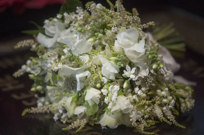 A close-up of Meghan Markle's wedding bouquet