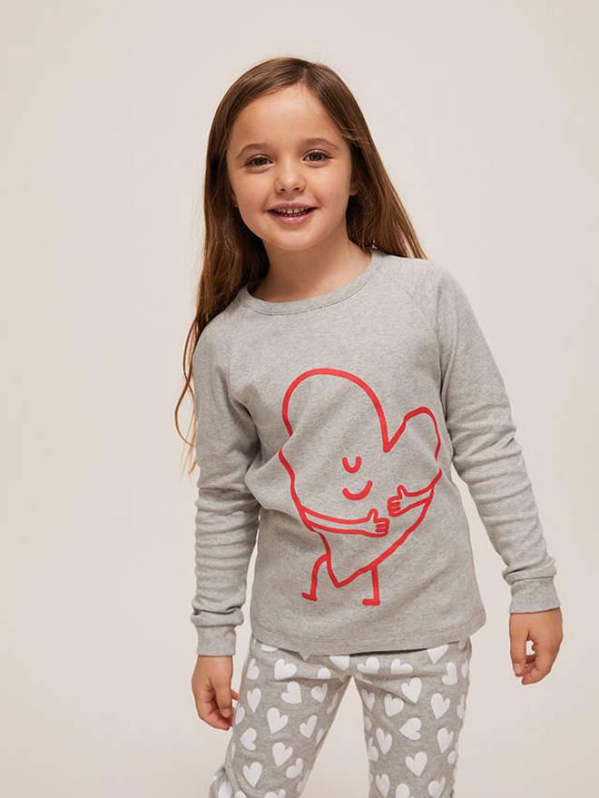 Children's Hearts Print Cotton Pyjamas