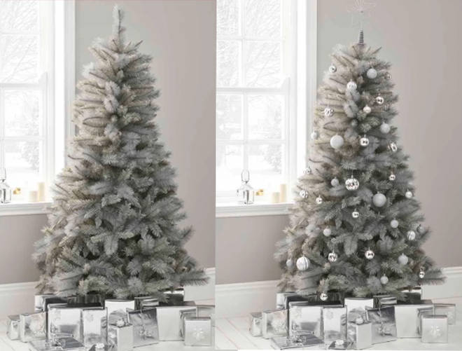 The winter grey coloured Christmas Tree, available from wilko