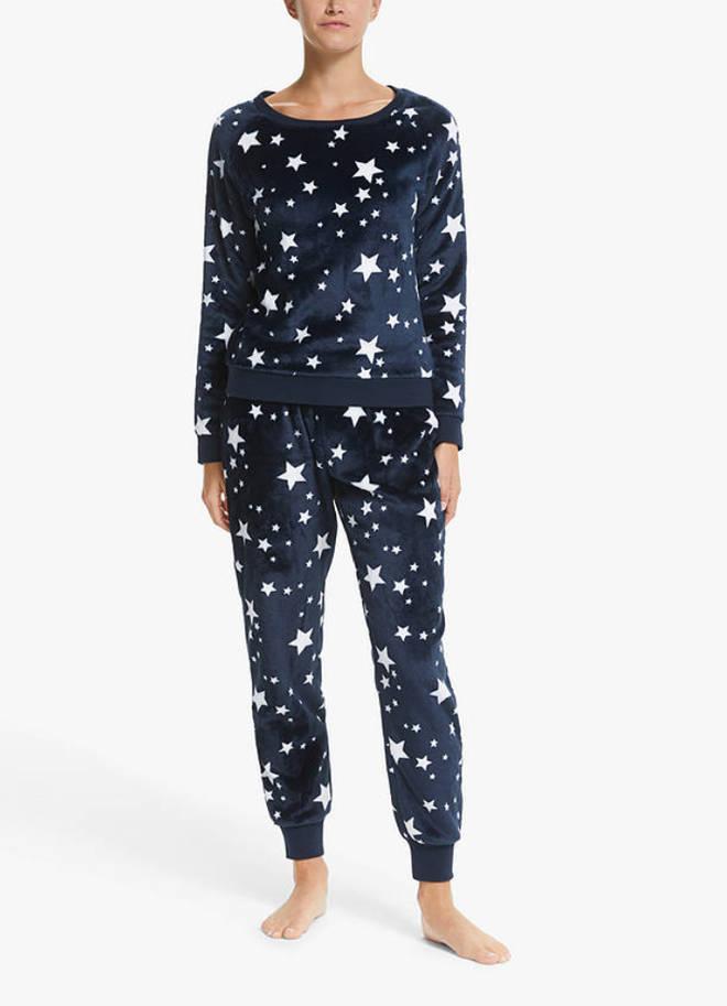 John Lewis & Partners Star Fleece Twosie Pyjama Set, £35.00
