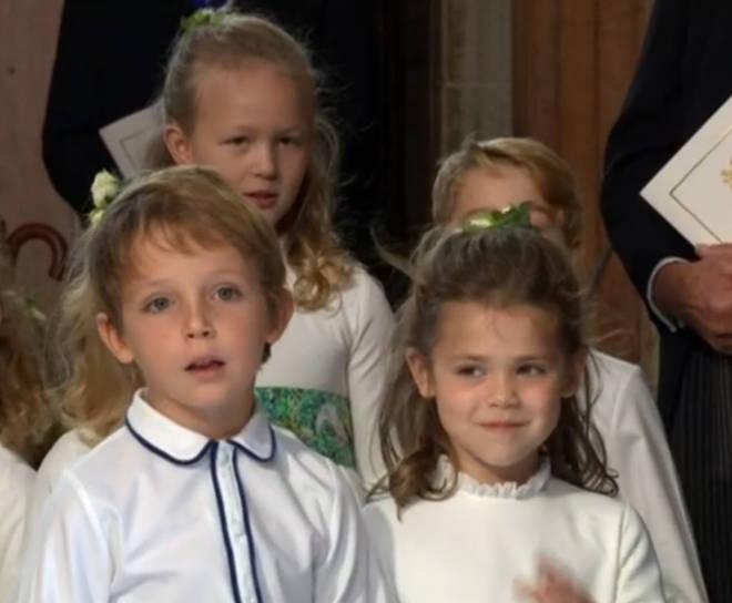 Robbie Williams' daughter, Theodora, pictured as bridesmaid