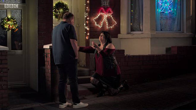 The Christmas special ended with a huge cliffhanger as Nessa proposed to Smithy