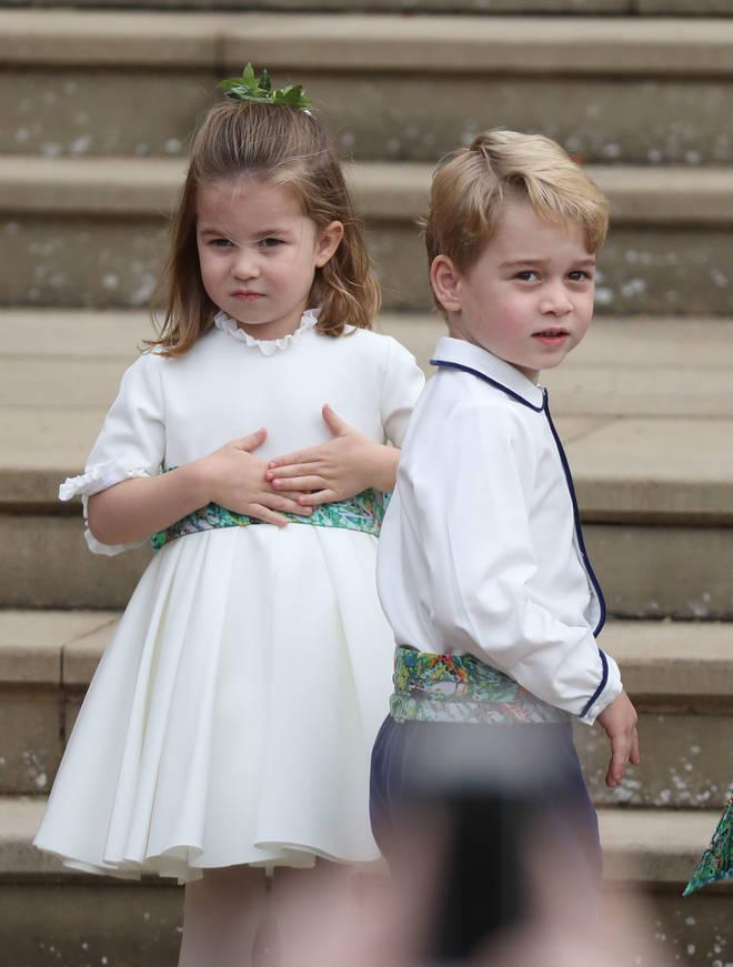 Princess Charlotte and Princes George at Princess Eugenie's royal wedding