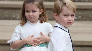 Princess Charlotte and Princes George at Princess Eugenie's royal wedding