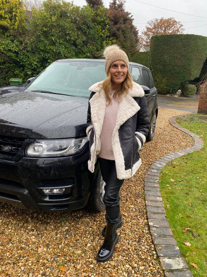 Zoe Hardman got dolled up for the school run in this gorgeous shearling-style jacket