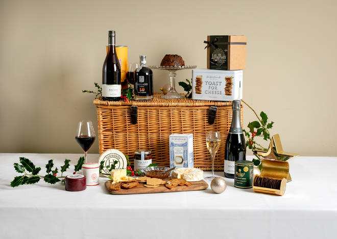 This hamper is packed with delicious treats and gorgeous English wines