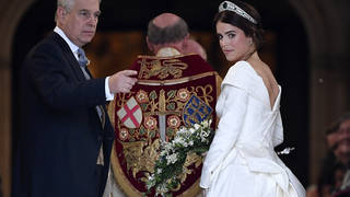 Princess Eugenie's scars were visible as she walked down the aisle