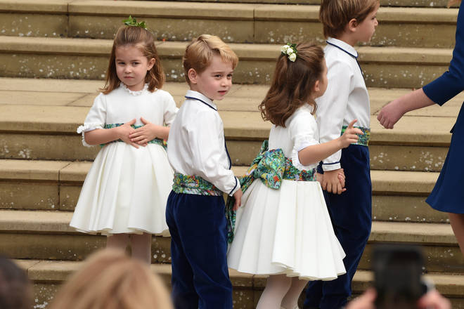 Princess Charlotte and Prince George before the wedding of Princess Eugenie and Jack Brooksbank