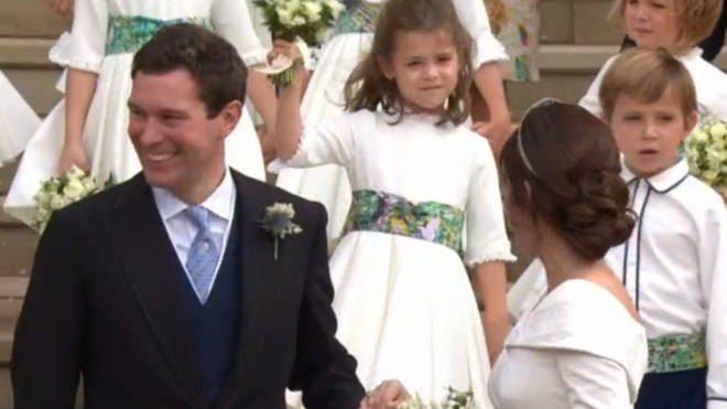 Theodora Rose gave Princess Eugenie a wave as they left the church