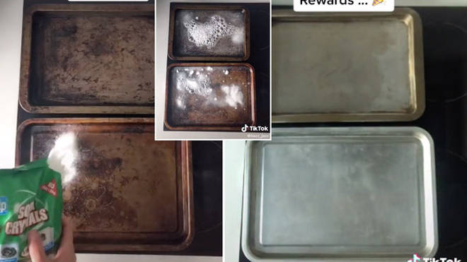 A man has revealed how to transform your dirty baking trays