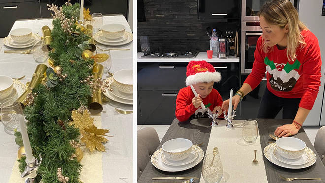 Fia Tarrant and her son get busy laying the Christmas table