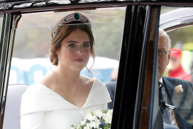 Princess Eugenie arrives at the church on her wedding day