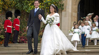 Princess Eugenie and Jack Brooksbank leave the church after their wedding ceremony