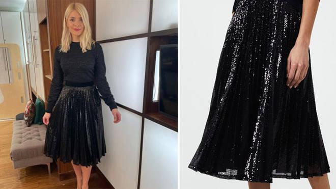 Holly Willoughby's sequinned skirt is from Hobbs