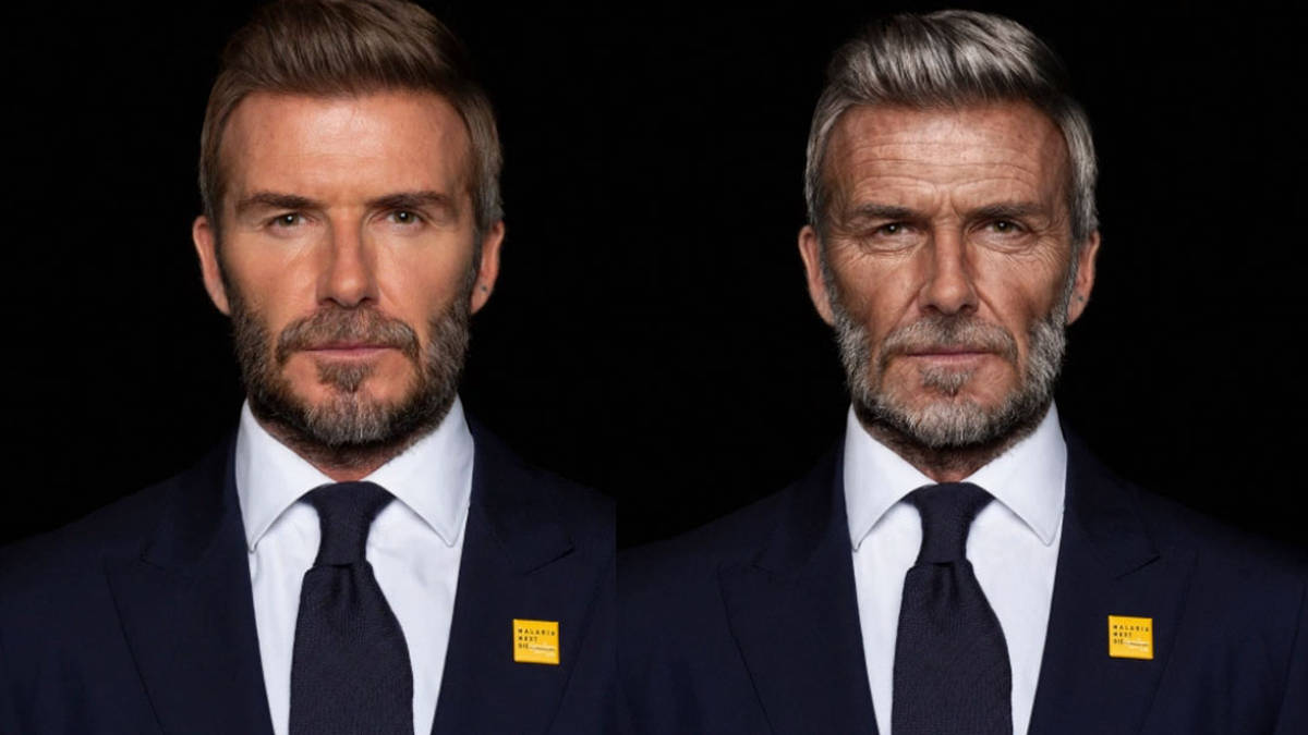 Incredible moment David Beckham is aged by 30 years in charity video