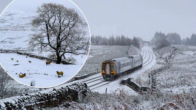 Snow is falling across the UK today