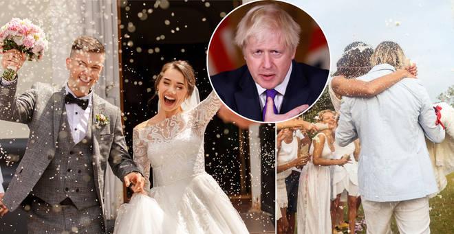 Boris Johnson has hinted at the return of big weddings (stock images)