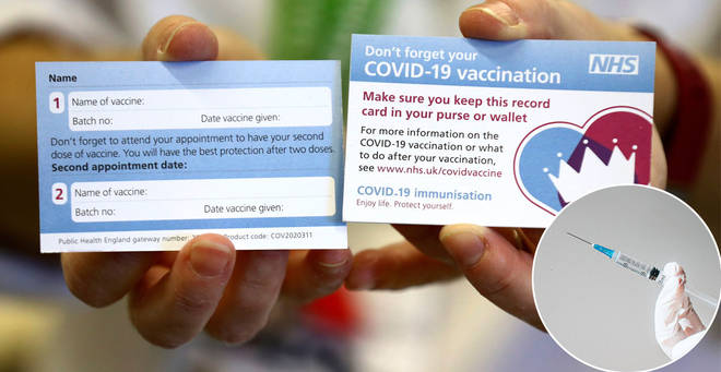 The first photo of the Covid ID card has been released (right: stock image)