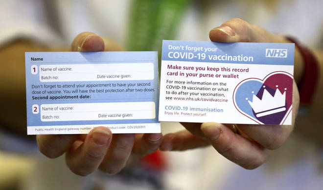 The card will be given to Brits who have had a coronavirus vaccination