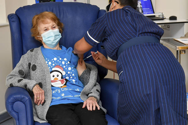 Margaret Keenan celebrated being vaccinated with a cup of tea