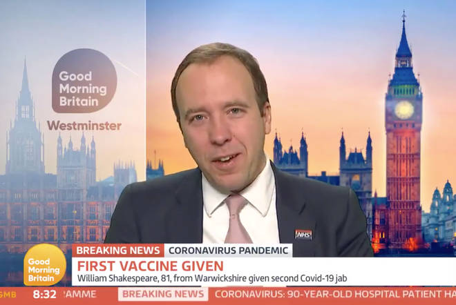 Matt Hancock was ecstatic about the first Brit vaccine jabs