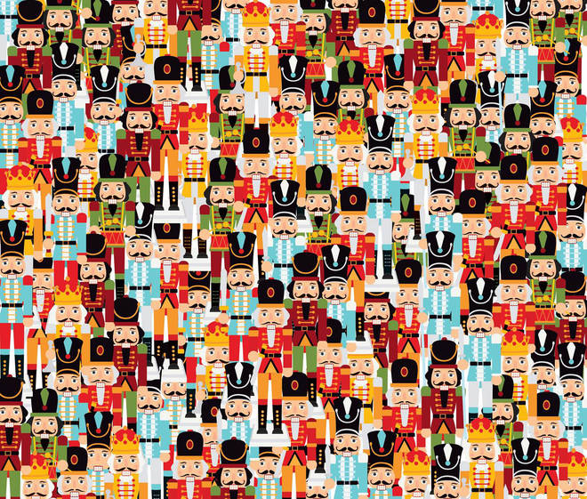 Take a good look at this picture, can you find the one clean-shaven Nutcracker?