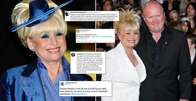 Celebrities have paid tribute to Barbara Windsor following her death
