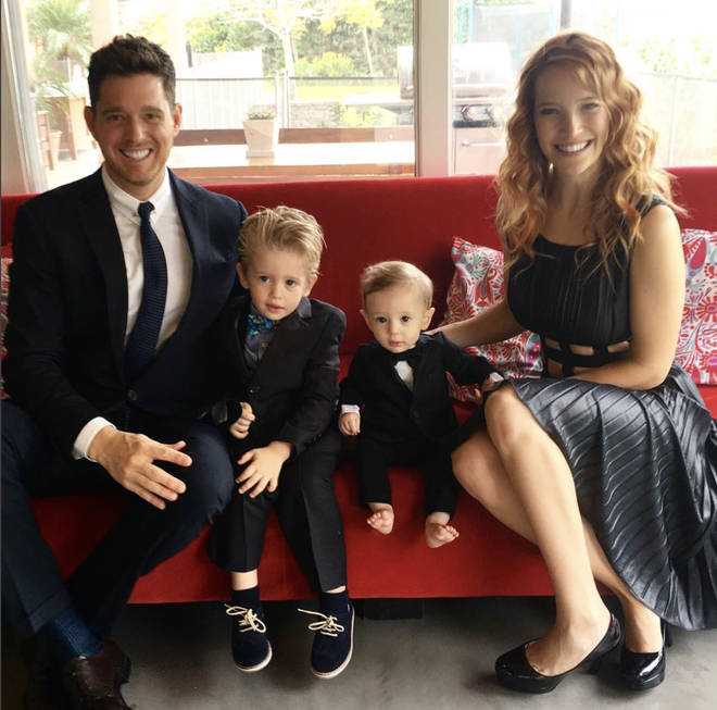 Michael Buble with his two sons and wife Luisana