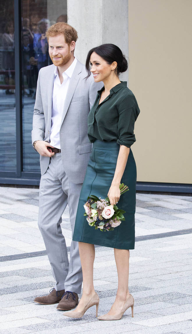 Meghan Markle wowed Chichester in a green leather skirt