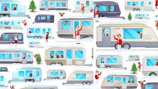 Spot Santa in this snowy caravan scene