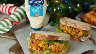 This is a seasonal twist on a coronation chicken sandwich
