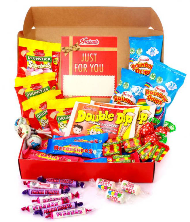 Send a personalised hamper of classic sweets if you really want to impress