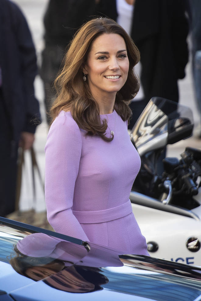 Kate Middleton in a lilac dress on royal duty