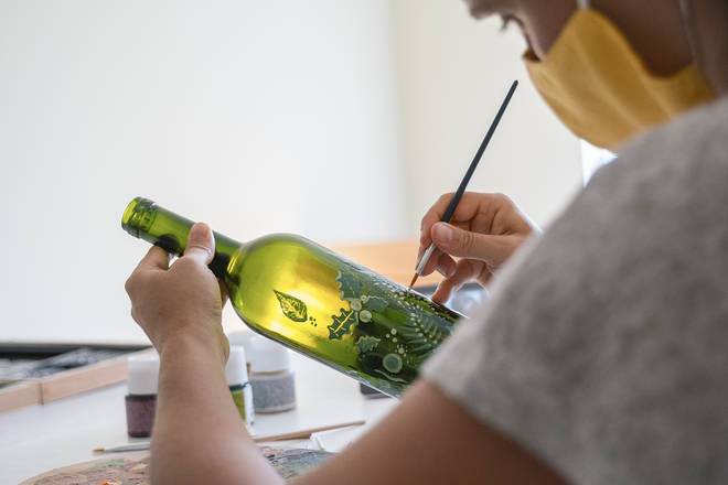 Cleaned wine bottles can also be jazzed up before they go in to the recycling, or be kept as an ornament