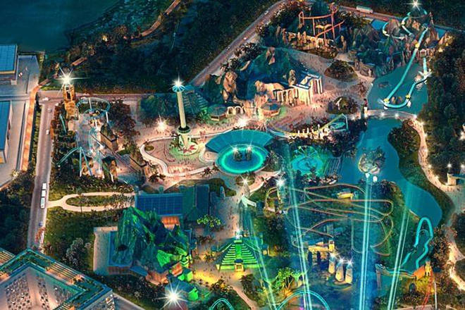 An artist impression of the theme park shows a number of attractions
