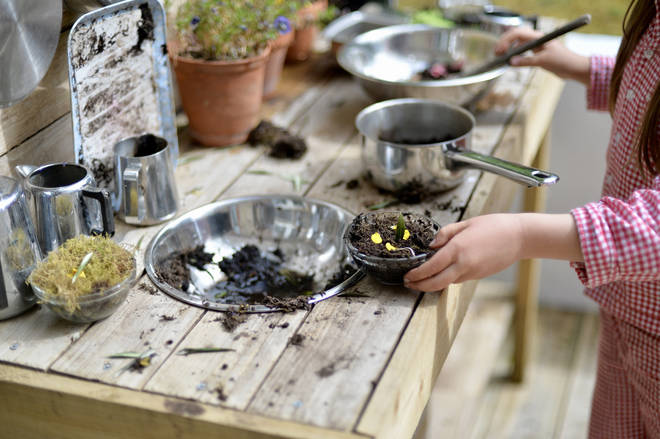 If you don't mind your little ones getting muddy, why not get them mixing potions in the garden