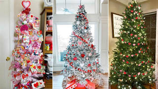 People are redecorating their Christmas trees for Valentine's Day