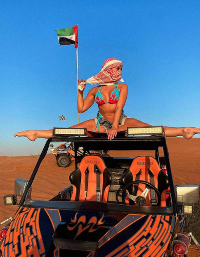 Gabby Allen told fans she was in Dubai for her boyfriend whose business is based in the UAE
