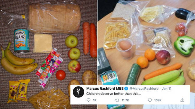 Food packages sent to children have been shared online