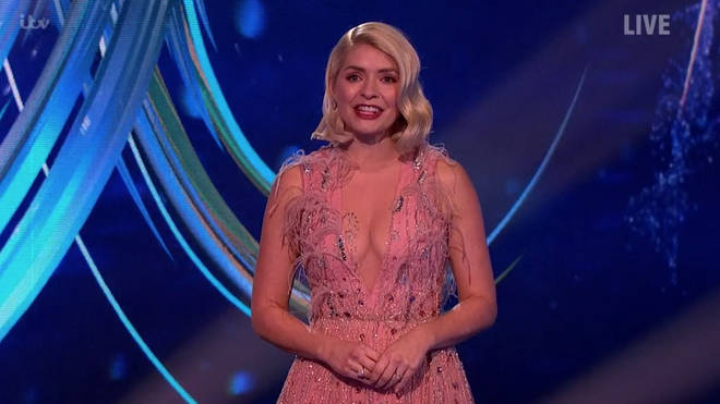 Holly Willoughby looked stunning in the pink feather gown