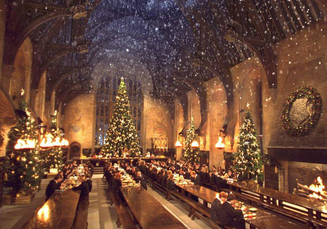 Hogwarts transforms at Christmas in the films