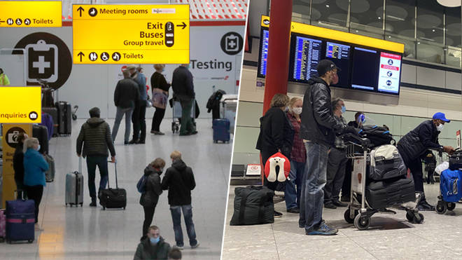 Heathrow passengers before travel rules changed
