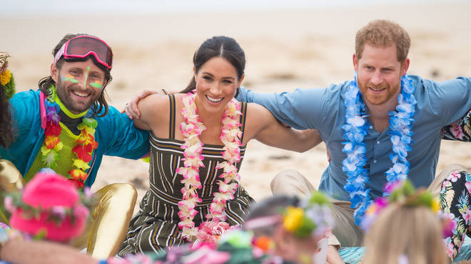 Meghan and Harry participate in an 'anti bad vibes' circle on Bondi Beach
