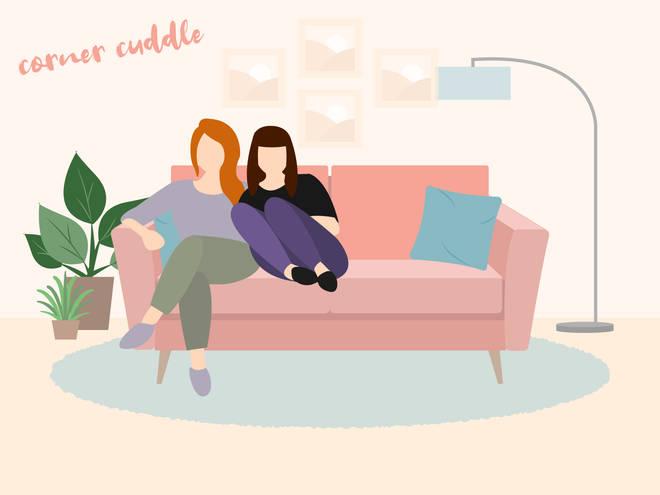Cuddling in the corner of the sofa